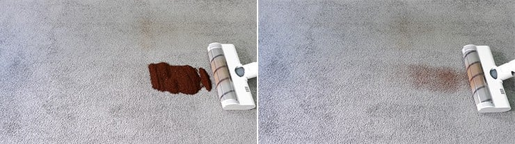 Dreame V10 cleaning coffee grounds on low pile carpet
