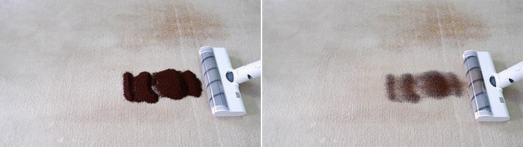 Dreame V10 cleaning coffee grounds on mid pile carpets