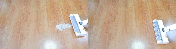 Dreame V10 cleaning pet litter on hard floors