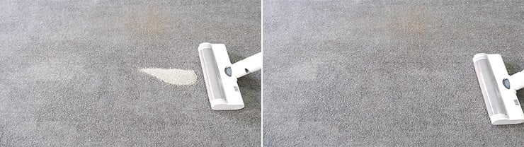 Dreame V10 cleaning pet litter on low pile carpets