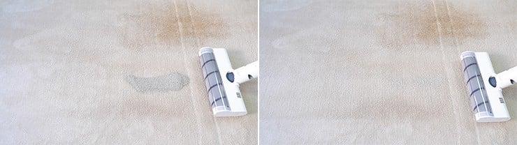 Dreame V10 cleaning pet litter on medium pile carpet