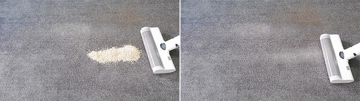 Dreame V10 cleaning quaker oats on low pile carpet
