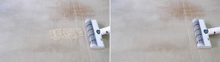 Dreame V10 cleaning quaker oats on mid pile carpet