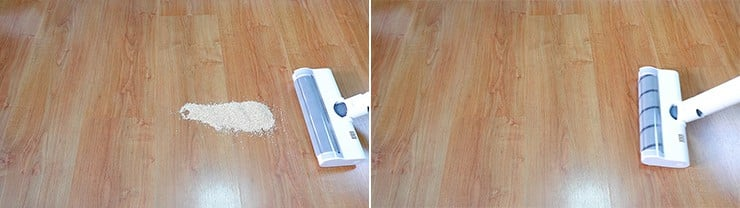 Dreame V10 cleaning quinoa on hard floors