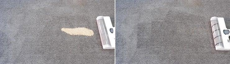 Dreame V10 quinoa on low pile carpet