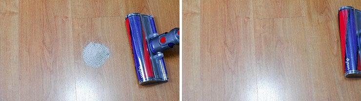 Dyson V10 cleaning test using pet litter on hard floor