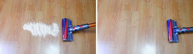 Dyson V10 cleaning test on hard floor cleaning Quaker oats