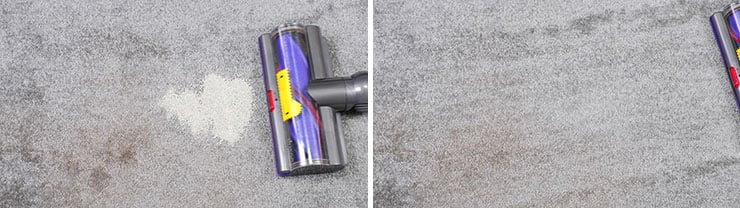 Dyson cleaning test using pet litter on low pile carpet