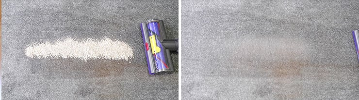 Dyson V10 cleaning tests using Quaker oats on low pile carpet