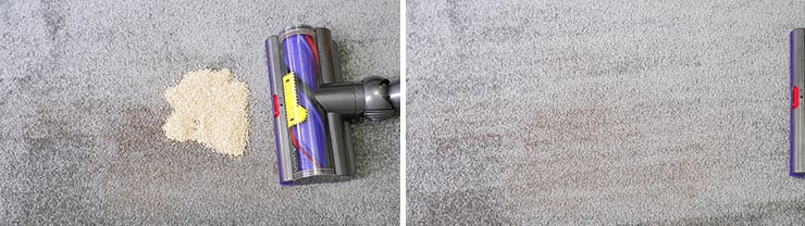 Dyson V10 cleaning test using quinoa on low pile carpet