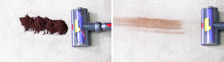 Dyson V10 cleaning test using coffee grounds on mid pile carpet