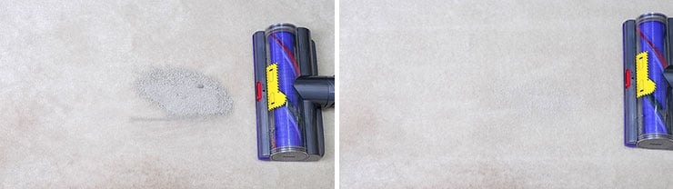 Dyson V10 cleaning test using pet litter on medium pile carpet