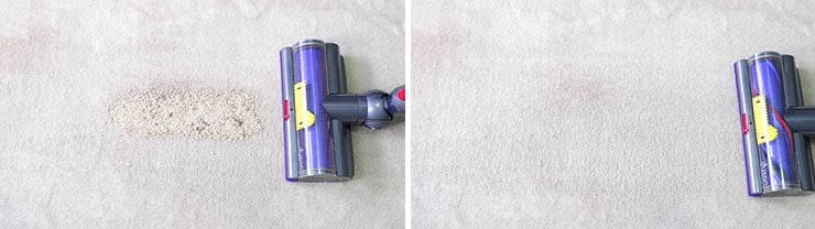 Dyson V10 cleaning test using quinoa on medium pile carpet