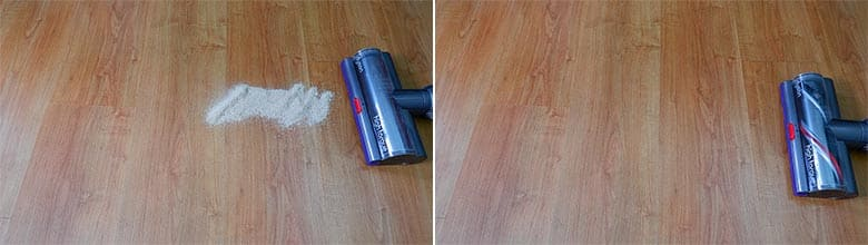 Dyson V11 Torque Drive sand on hard floor