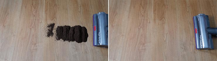 Dyson V11 cleaning coffee grounds on hard floor