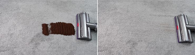 Dyson V11 cleaning coffee grounds on low pile carpet