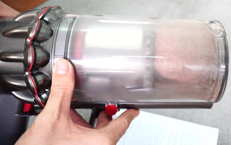Hair inside Dyson V11 dust container