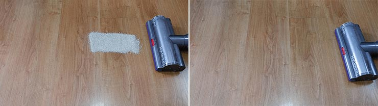 Dyson V11 cleaning pet litter on hard floors