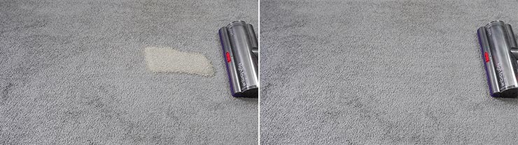 Dyson V11 cleaning pet litter on low pile carpet