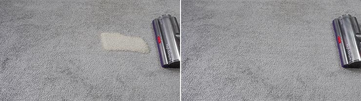 Dyson V11 cleaning quaker oats on low pile carpet