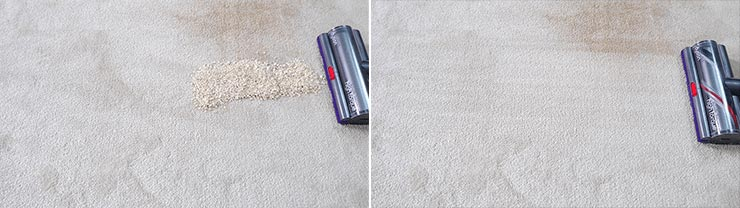 Dyson V11 quaker oats on mid pile carpet
