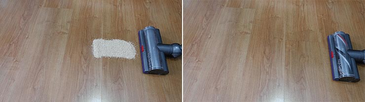Dyson V11 cleaning quinoa on hard floor