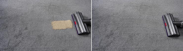 Dyson V11 cleaning quinoa on low pile carpet