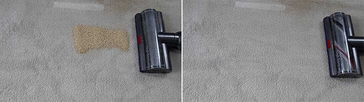 Dyson V11 cleaning quinoa on mid pile carpet