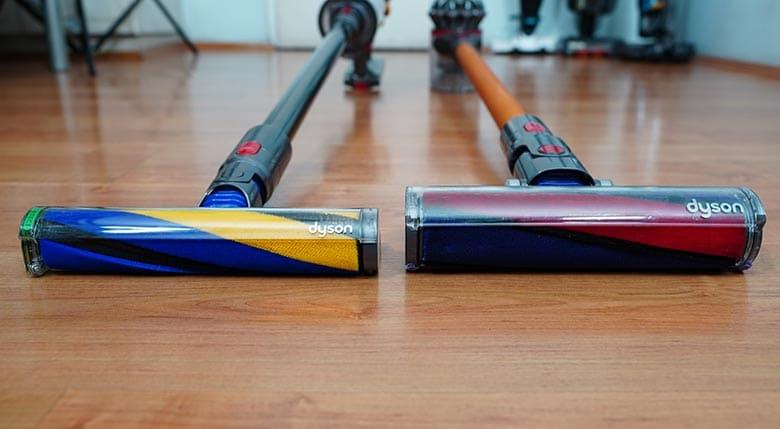 Dyson V15 and V8 soft roller side by side