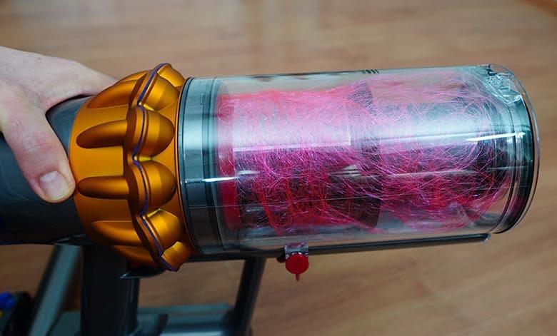 Dyson V15 hair inside dustbin