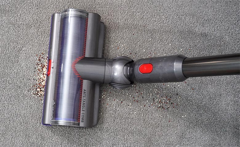 Dyson V15 high torque head initial pass on carpet