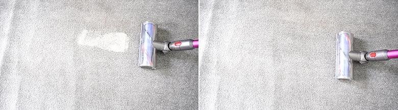 Dyson V7 MotorHead cleaning pet litter on low pile carpet