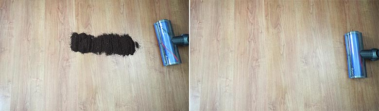 Dyson V7 cleaning coffee grounds on hard floors