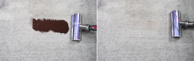 Dyson V7 cleaning coffee grounds on low pile carpet