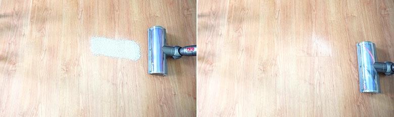 Dyson V7 cleaning pet litter on hard floors