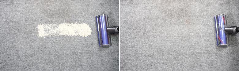 Dyson V7 cleaning quaker oats on low pile carpet