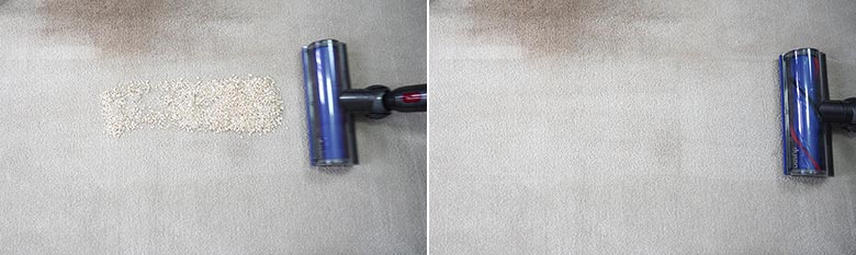 Dyson V7 cleaning quaker oats on mid pile carpet