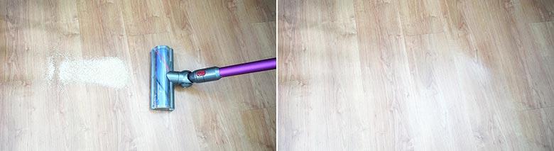 Dyson V7 cleaning quinoa on hard floors