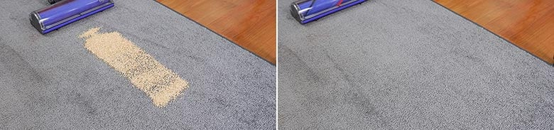 Dyson V7 cleaning quinoa on low pile carpet