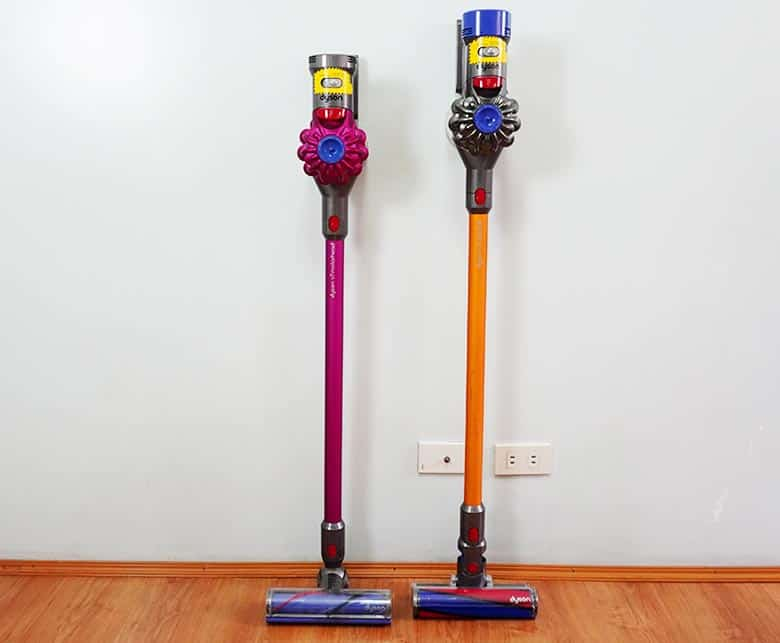 Dyson V7 and V8 side by side