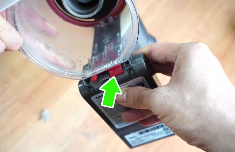Remove Dyson V8 dustbin outer shell