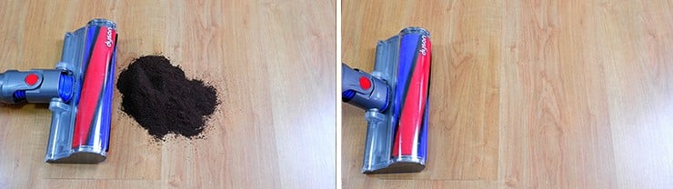 Dyson V8 cleaning coffee on hard floor