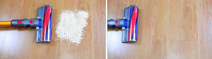 Dyson V8 cleaning Quaker oats on hard floor