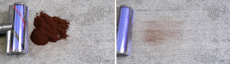 Dyson V8 c;leaning coffee grounds on low pile carpet