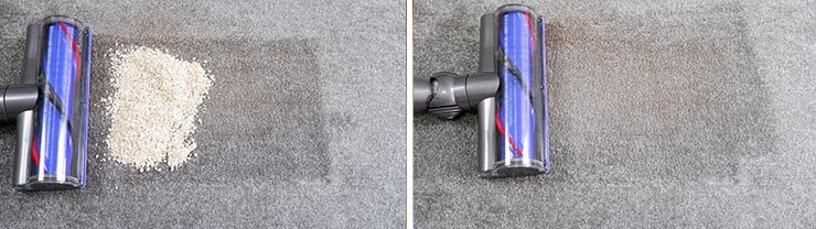 Dyson-V8 cleaning Quaker oats on low pile carpet