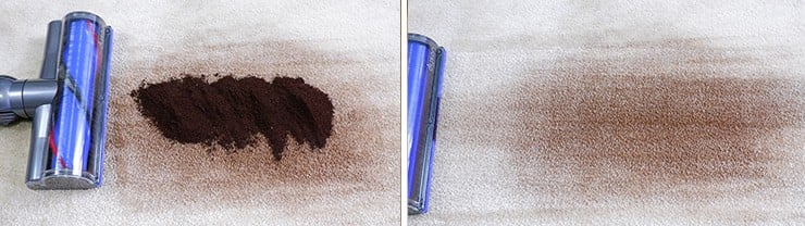 Dyson V8 cleaning coffee grounds on low pile carpet