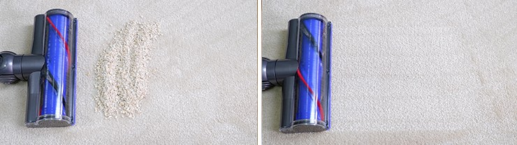 Dyson V8 cleaning Quaker oats on mid pile carpet