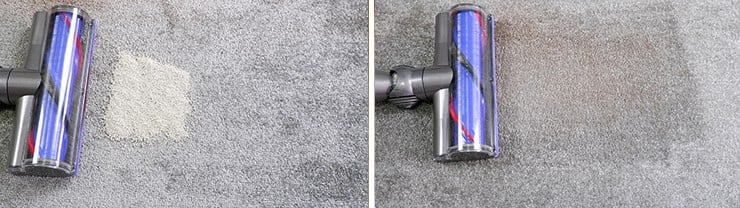 Dyson V8 c;leaning pet litter on low pile carpet