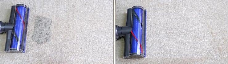Dyson V8 cleaning pet litter on mid pile carpet
