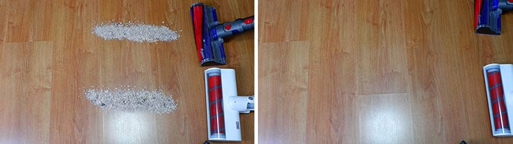 Dyson V10 vs Roidmi F8 Hard Floor Cleaning Test with the Soft Roller Brush